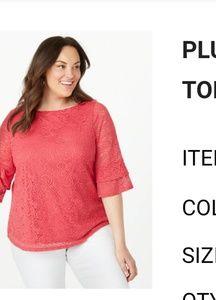 Plus Size Lace Flutter Sleeve 1X Top Roz & Ali